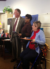 Photo: Senator Brian Bushweller (left), Dolphin Tank finalist Latoshia Caldwell (center) and DDC Chair Barbara Monaghan (right) at the Independent Resources, Inc. LaunchSpace Program Dolphin Tank event on March 12, 2015. The LaunchSpace Program was made possibly by funding from the DDC.)