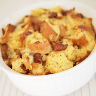 Savory Chanterelle and Gruyere Bread Pudding.