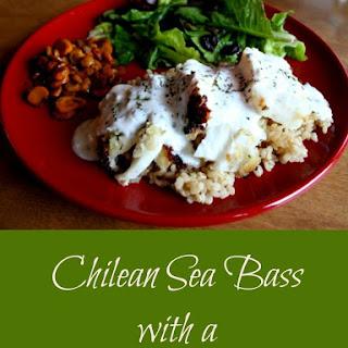 Chilean Sea Bass with Lemon Yogurt Sauce.
