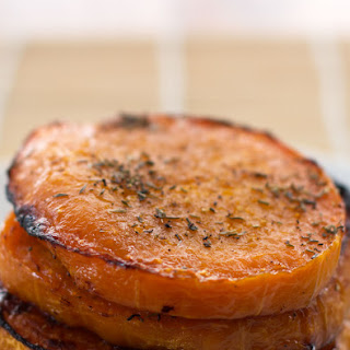 Maple Roasted Butternut Squash Slices with Thyme