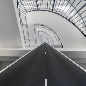Road Stairs by Niki Feijen - Buildings & Architecture Office Buildings & Hotels ( modern, stairs, art, white, road, spiral, high, black, key )
