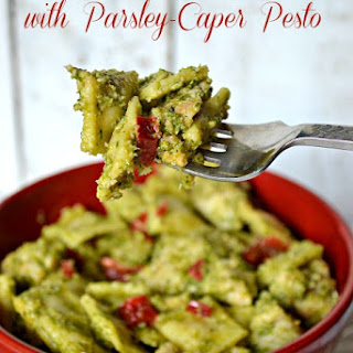 Mini Ravioli Salad with Parsley-Caper Pesto