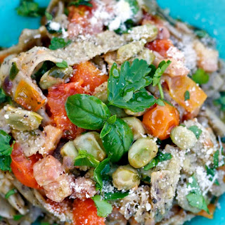 Pizzoccheri with Fava Beans, Pancetta & Tomatoes.
