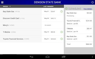 Screenshot of Denison State Bank Mobile
