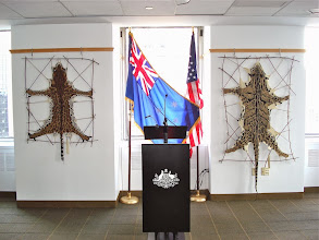 Photo: It was so wonderful to show my work next to the Australian and American flags! Photo credit: Ruth Marshall