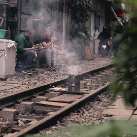 Train Street by Alexandru Lazar - City,  Street & Park  Neighborhoods ( street, smoke, railway, travel, train,  )