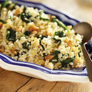 Brown Rice with Sauteed Spinach, Lemon and Garlic.