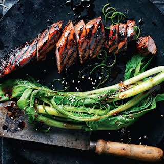 How To Make Sticky Barbecued Pork With Asian Greens.