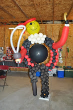 Photo: Balloon Pirate game for a Graduation party. Un-tether the 'cannon ball' and try to throw it threw the pirate :) It was Big Fun!!