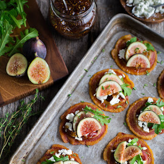 Pancetta Crisps with Goat Cheese and Figs.