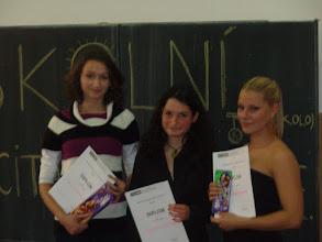 Photo: Školní kolo recitační soutěže - Lucka, Karolína a Johanka.