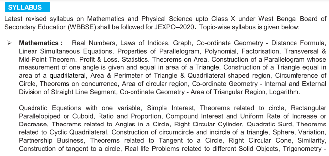 JEXPO 2021 Mathematics Syllabus