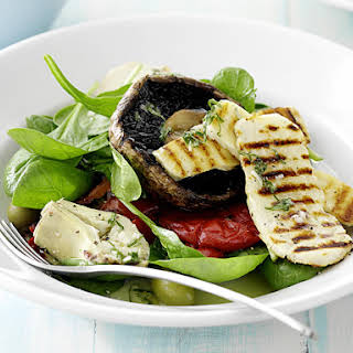 Mediterranean Salad with Lemon Basil Dressing.