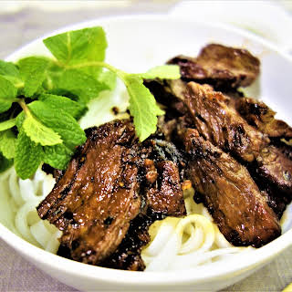 Vietnamese Seared Beef and Rice Noodles.