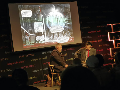 Graphic detail: Comedian Phill Jupitus, left, talks to Guardian cartoonist Martin Rowson at the Hay Festival. Picture: HANS PIENAAR