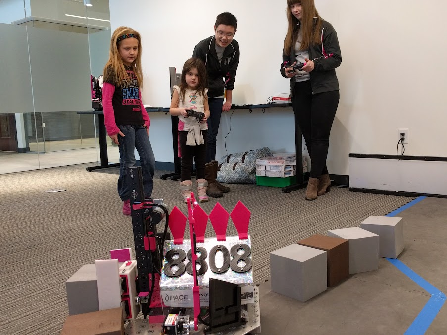 Young visitors driving the robot