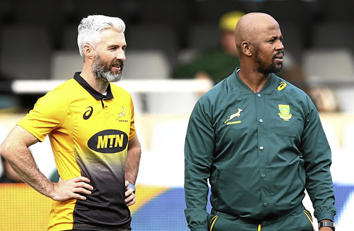 Time jugglers: Assistant coaches Aled Walters, left, and Mzwandile Stick adjusted the Boks' training schedule. Picture: STEVE HAAG/GALLO IMAGES