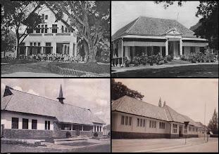 Photo: Links boven Koningsplein Oost nr 14, rechts het meisjespensionaat, links beneden Nassauschool en rechtsonder Ligthartschool aan de Jl. Tegal nr. 10