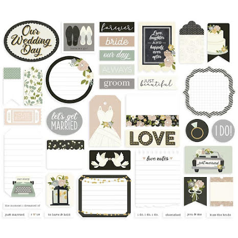 Simple Stories Bits & Pieces Die-Cuts 39/Pkg - Happily Ever After Journal