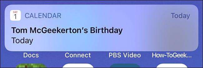 An example of an iPhone Calendar birthday alert.
