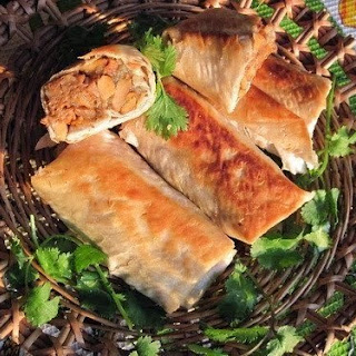 Lavash PANCAKES WITH MUSHROOMS AND CHEESE.