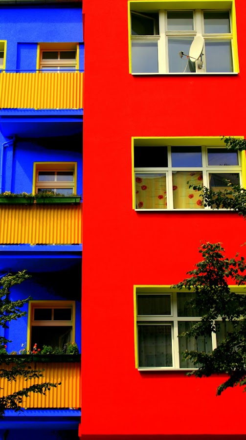 Bright House by Caroline Crutchley - Buildings & Architecture Homes ( red, red and blue, berlin, house s of colour, house, homes, contrast colour, houses exterior )