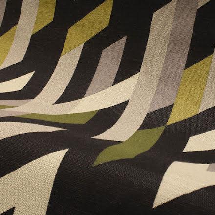 Grafiskt Inredningstyg - brun/beige