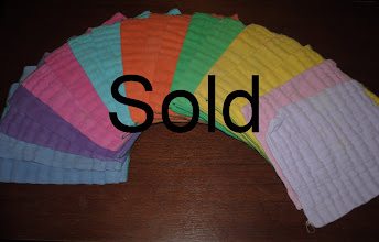 Photo: DSQ (Diaper Service Quality) Hand Dyed (Permenant Procion Dyed) Newborn Sized Prefolds. 16 Green Edged (on left)- AND Two Manufacturer Dyed Thirsties Newborn Prefolds (two on right) $20 FOR ALL. Will NOT divide.