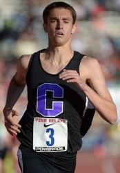 Sean McGorty during his record mile victory at Penn Friday. Photo by Kirby Lee, Image of Sport.