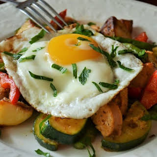 Sausage and Summer Veggie Hash with Fried Eggs.