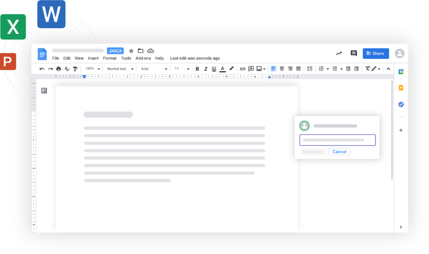 An Office Word file being opened and edited directly in Google Docs