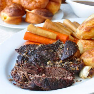 Burgundy Thyme Pot Roast with Yorkshire Pudding Popovers and English Style Roasted Potatoes.