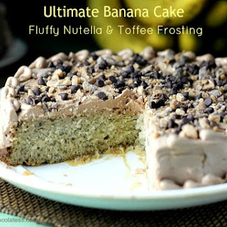 Ultimate Banana Cake with Fluffy Nutella & Toffee Frosting.