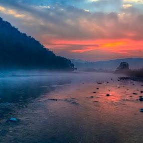 Sunrise in Dhikala by Pravine Chester - Landscapes Sunsets & Sunrises ( dawn, sunrise, morning, landscape, photography, sun, rising sun, river )