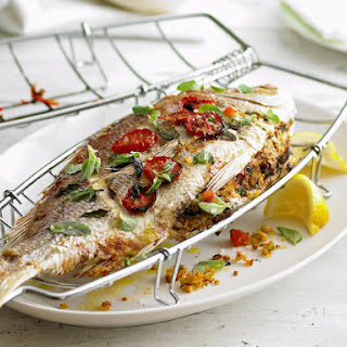 Whole Snapper with Pine Nut Stuffing.
