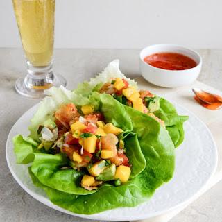 Beer Battered Shrimp Lettuce Wraps with Mango Avocado Salsa.