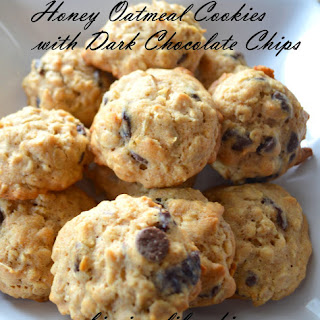 Honey Oatmeal Cookies with Dark Chocolate Chips.