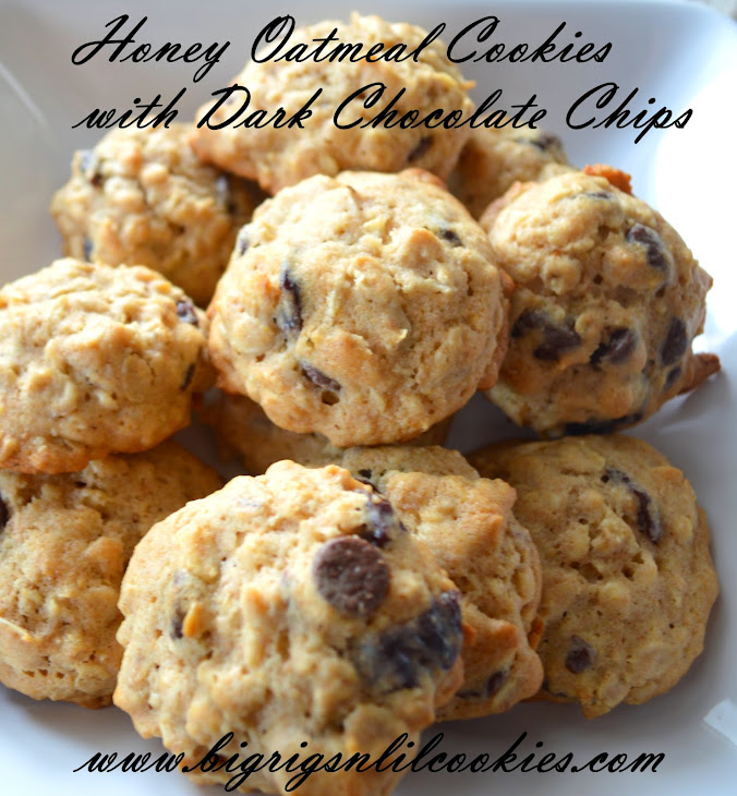 Honey Oatmeal Cookies with Dark Chocolate Chips Recipe