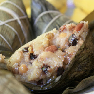 Glutinous Rice and Chinese Sausage Wrapped in Banana Leaves.