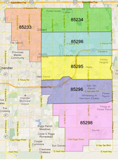 Gilbert AZ Zipcode Map   Gilbert AZ Homes for Sale and Real Estate