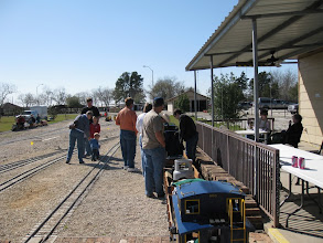Photo: Train crews young and otherwise on the station platform.  HALS 2009-0228
