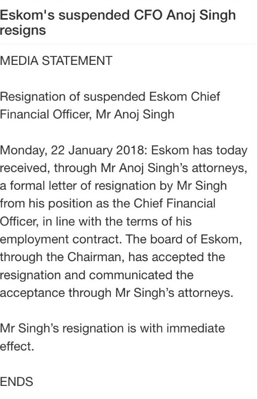 Eskoms suspended finance chief anoj singh resigns he was suspended in september 2017 after being placed on special leave at the end of july amid accusations he was involved in irregularly awarding contracts spiritdancerdesigns Choice Image