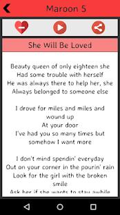 Maroon 5 Lyrics screenshot