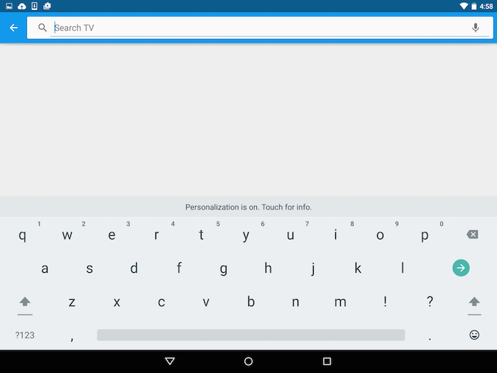 Search for content in Google Fiber TV app on Android.