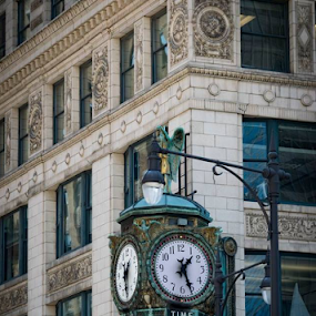 Chicago Time by Rebecca Roy - Buildings & Architecture Architectural Detail ( clock tower, clock, travel, chicago, travel photography, street photography, chicago street,  )