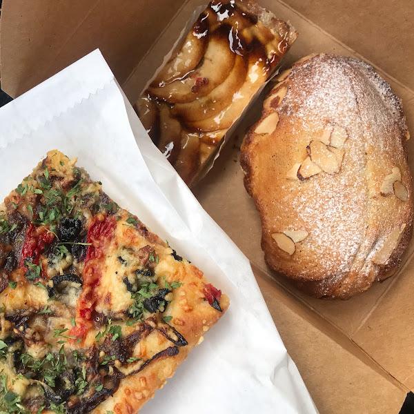 Focaccia, Apple tart, and almond brioche