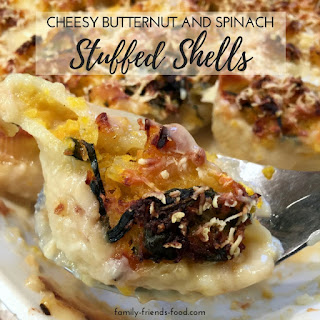 Cheesy Butternut Squash And Spinach Stuffed Shells.