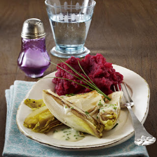 Braised Endive with Red Beet Mash.