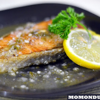 Pan Grilled Salmon in Lemon Butter Sauce.