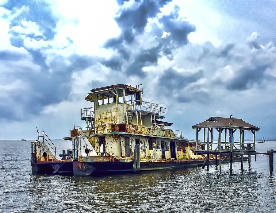 Rusty Boat on a Cloudy Day by Judy Rosanno - Instagram & Mobile iPhone ( clouds, rusty boat, pier, sea, cloudy, rusty, rust, boat, iphone,  )